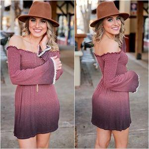 ✨RESTOCKED✨Off Shoulder Dip Dyed Lace Trim  Dress